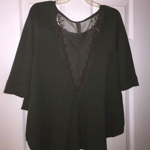 Free People thermal lace back top olive XS
